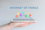 Internet of things (IOT) concept with hand holding smart phone poster