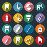 Fototapety Set of vector Dental Icons in flat style with long shadows.