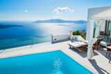 White architecture on Santorini island, Greece. - 84430409