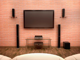 Fototapety 3d illustration of home Theater interior