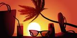 Fototapety Vacances Plage-couche de soleil
