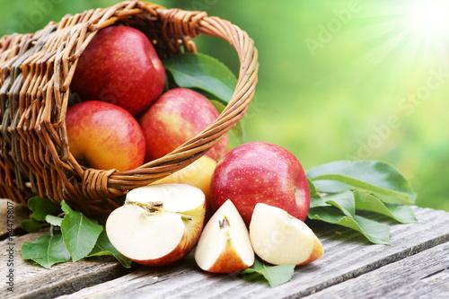 Leinwanddruck Bild Äpfel im Körbchen mit Sonne, copy space