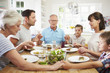 Detaily fotografie Multi Generation Family Praying Before Meal At Home