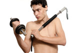 Skinny man training his bicep muscle. Beautiful teenager lifting a dumbbell.Anorexic young man training to become stronger, flexing a bendy bar poster