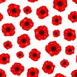 Seamless pattern with red poppies. Vector illustration.