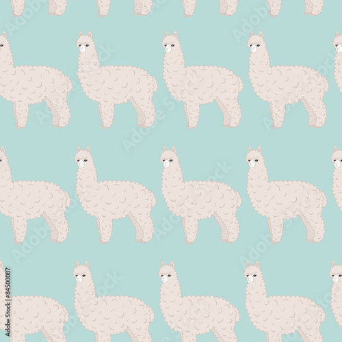 Cute furry alpaca. Vector seamless pattern, eps10. - 84500087