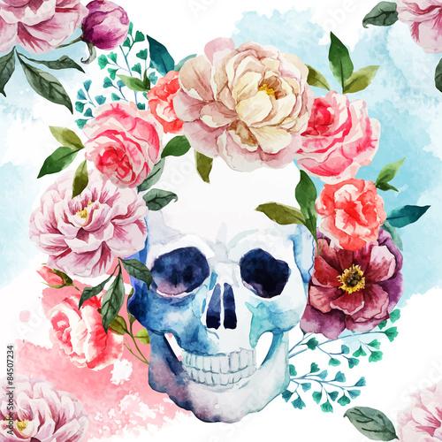 Watercolor skull - 84507234
