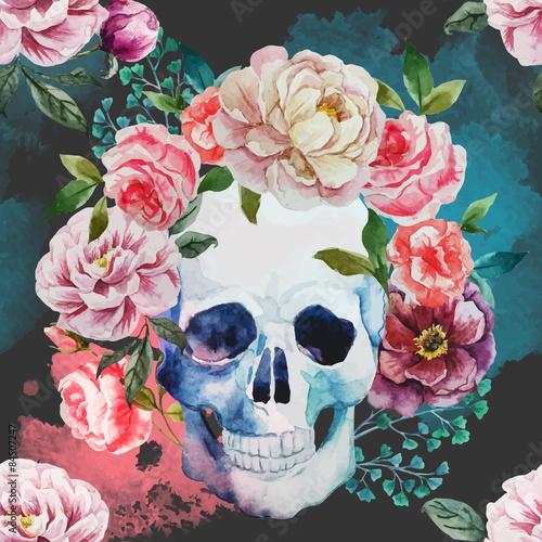 Watercolor skull - 84507247