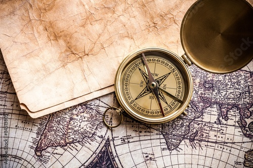 Map, Old, Compass.