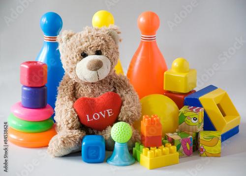 Creative plastic toys and teddy bear