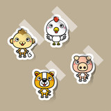12 Chinese zodiac signs design stickers