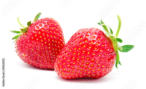 Two perfect red ripe strawberry isolated