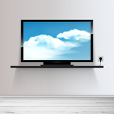 Vector HD TV on shelf, realistic illustration