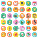 Fototapety Round vector flat school subjects icons