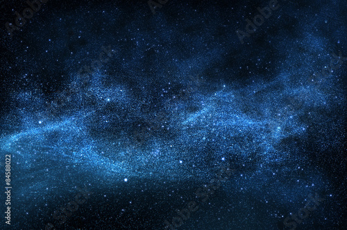 Poszter Dark night sky with sparkling stars and planets,illustration