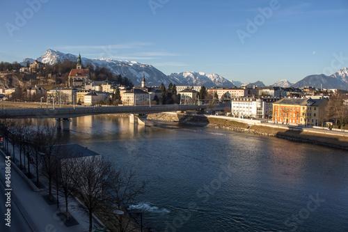 Foto op Canvas Cityscape at the river Salzach in Salzburg, Austria, 2015