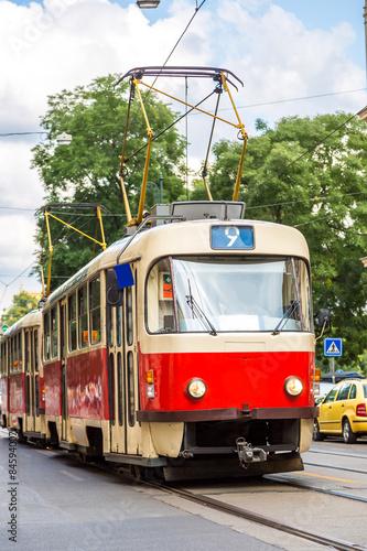 Prague red Tram detail, Czech Republic © Sergii Figurnyi