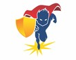 Постер, плакат: superheroes shield silhouette
