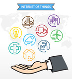 Business man Open hand with icon about Internet of things (IoT) ,Connection Concept poster