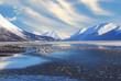 Alaskan Mountain and Frozen Sea Landscape