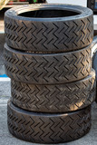Racing car tire close up