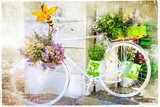 charming street decoration with bike and flowers, artistic pictu - 84615824