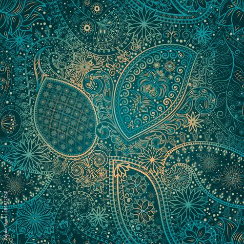 Vintage floral motif ethnic seamless background. - 84622050