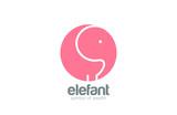 Elephant logo circle design vector template...Zoo Logotype funny - 84623001