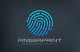 Fingerprint Logo Touch Security design vector template...Biometr