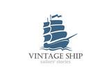 Vintage Ship Logo Sailing Boat design vector template...Ancient - 84623018