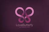 Butterfly Logo two Hearts crossing design vector template...Love - 84623033