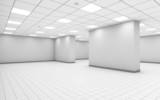 Fototapety Abstract white empty office room interior with column
