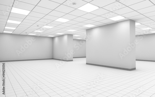 Abstract white empty office room interior with column