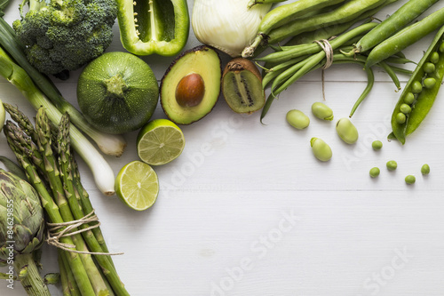 Selection of green fruit and vegetable ingredients