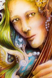 Elven man face with green hair, pearls playing a string instrument poster