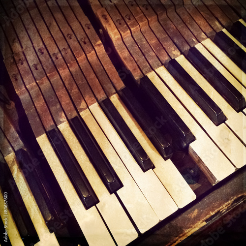 mata magnetyczna Klucze antyczne pianino z łamanego