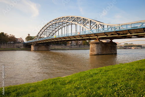 Panel Szklany Pilsudski Bridge on Vistula River in Krakow
