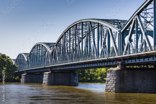 Fototapeta Poland - Torun famous truss bridge over Vistula river. Transport