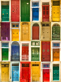 Fototapety colourful front doors to houses