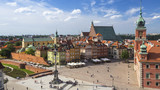 Top view of Castle Square in Warsaw, Poland.