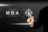 business hand pushing mba or Master of Business Administration b poster