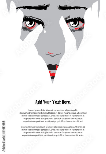 Unhappy woman cries covering face with hands. Eyes filled with tears. Stop violence against women concept. Simple but powerful two colors and negative space design. Illustration.
