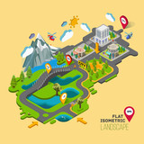 Fototapety Flat vector landscape with a picture of the nature and landscape of mountains and lakes, road junction GPS navigation infographic 3d isometric concept.