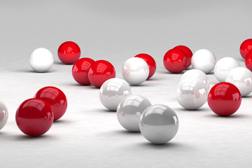 Lots of white and red balls interact. 3D render image. © marinv