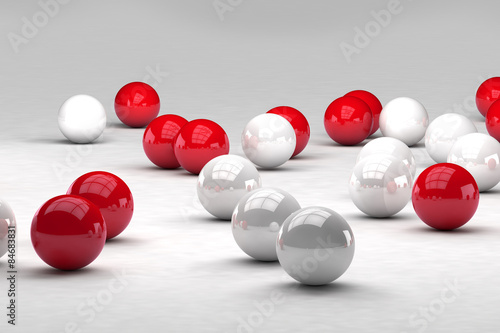 Fototapeta na wymiar Lots of white and red balls interact. 3D render image.