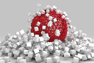 Crash of white cubes and hollow sphere. 3D render image. © marinv