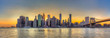 Panorama view of New York City downtown skyline and Brooklyn bri