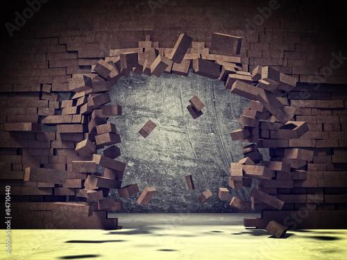 brick explosion