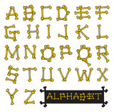 Skeleton bones alphabet vector illustration
