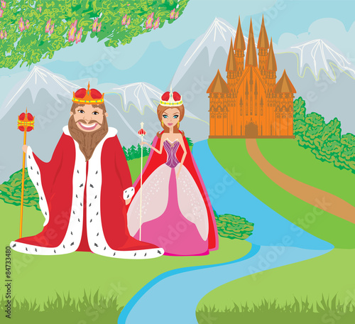 Foto op Aluminium Kasteel queen and king are in front of the castle